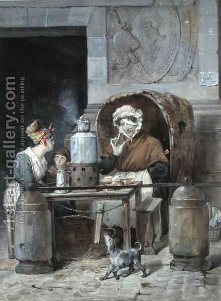 Coffee Seller on the corner of Porte Saint-Denis by Hippolyte Adam - Reproduction Oil Painting