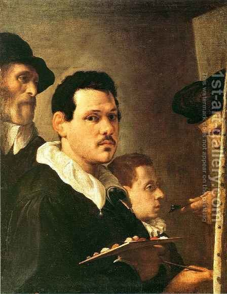 Self Portrait with Other Male Figures by Annibale Carracci - Reproduction Oil Painting