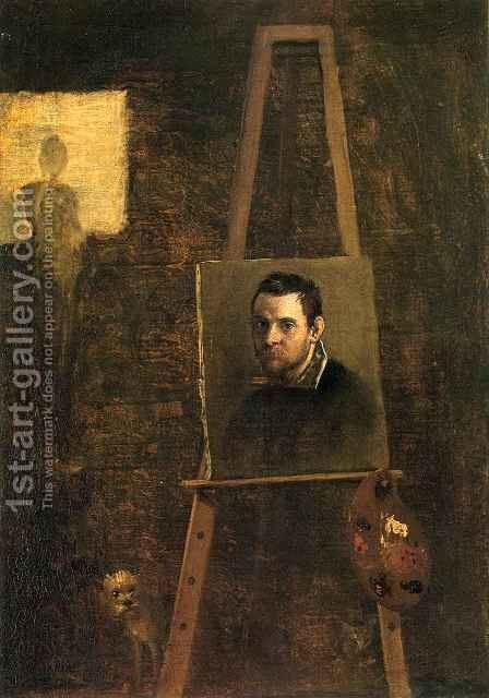 Self Portrait on Easel in Workshop by Annibale Carracci - Reproduction Oil Painting