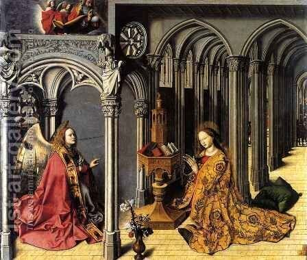 Annunciation, central panel by Barthelemy d' Eyck - Reproduction Oil Painting