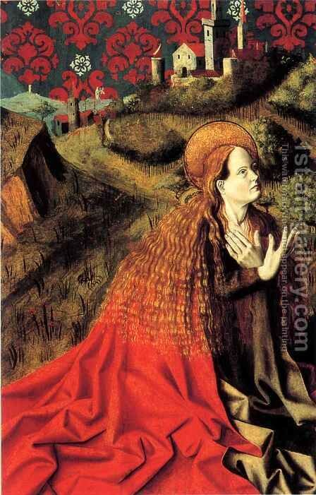 Mary Magdalene, reverse of Isaac by Barthelemy d' Eyck - Reproduction Oil Painting