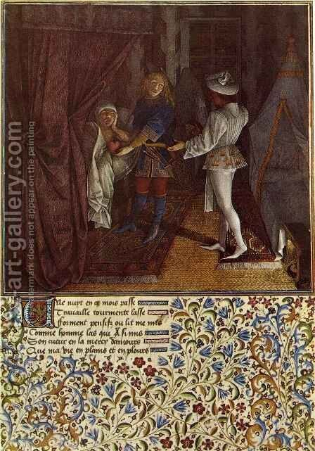 Miniature from Le Livre du coeur d amour epris by King Rene I of Anjou by Barthelemy d' Eyck - Reproduction Oil Painting