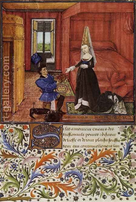 Miniature from Le Livre du coeur d amour epris by King Rene I of Anjou 2 by Barthelemy d' Eyck - Reproduction Oil Painting
