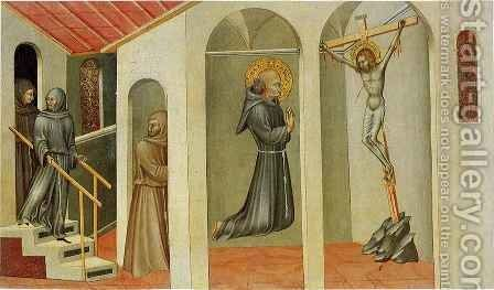 Franciscan Saint Levitating before the Crucifix by Giovanni di Paolo - Reproduction Oil Painting