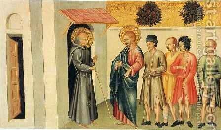 Franciscan Saint Receiving Pilgrims Led by Saint James the Great by Giovanni di Paolo - Reproduction Oil Painting