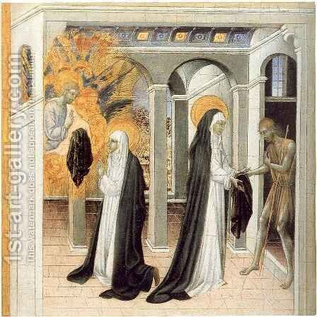 Saint Catherine and a Beggar by Giovanni di Paolo - Reproduction Oil Painting