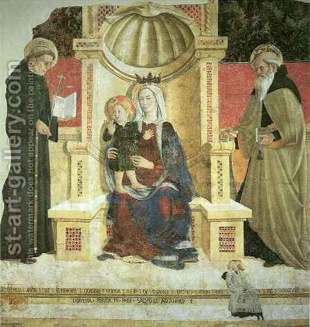 Madonna with Child and Saints Nicolas and Anthony the Abbott by Girolamo Giovanni - Reproduction Oil Painting
