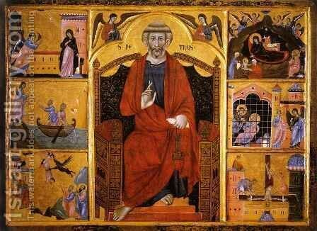 Saint Peter Enthroned by Graziano Guido di - Reproduction Oil Painting