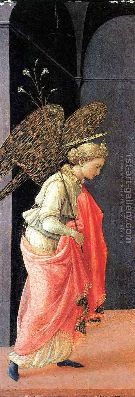 Annunciation, left wing by Fra Filippo Lippi - Reproduction Oil Painting