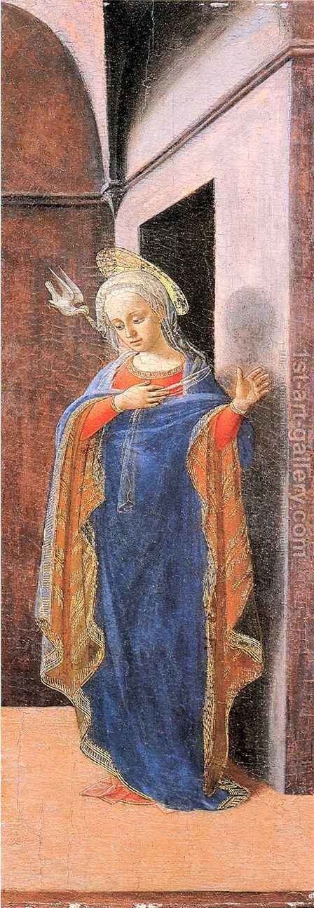 Annunciation, right wing by Fra Filippo Lippi - Reproduction Oil Painting