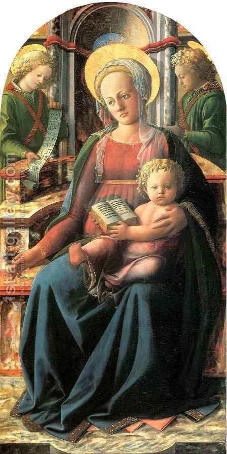 Four Doctors Triptych Madonna and Child Enthroned with two Angels by Fra Filippo Lippi - Reproduction Oil Painting
