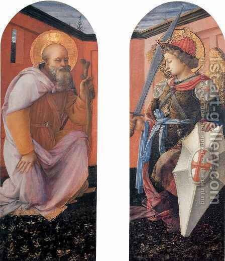St Anthony Abbot and St Michael by Fra Filippo Lippi - Reproduction Oil Painting
