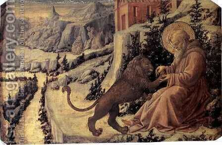 St Jerome and the Lion by Fra Filippo Lippi - Reproduction Oil Painting