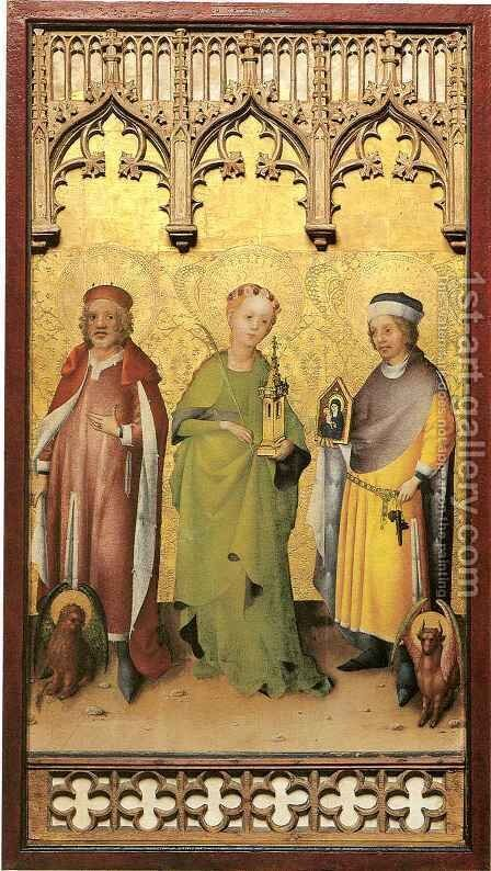 Saints Marco, Barbara and Lucas by Stefan Lochner - Reproduction Oil Painting