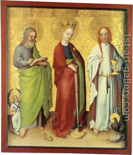 Saints Matthew, Catherine of Alexandria and John the Evangelist by Stefan Lochner - Reproduction Oil Painting