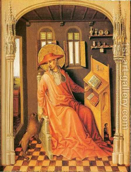 Saint Jerome in his Study by (after) Stefan Lochner - Reproduction Oil Painting