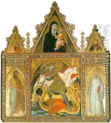 Altarpiece with Saint Michael by Ambrogio Lorenzetti - Reproduction Oil Painting