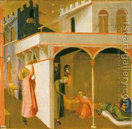 Saint Nicolas giving the Poor Girls their Dowry by Ambrogio Lorenzetti - Reproduction Oil Painting