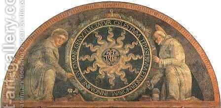 Monogram of Christ with Saint Antony and Saint Bernard by Andrea Mantegna - Reproduction Oil Painting