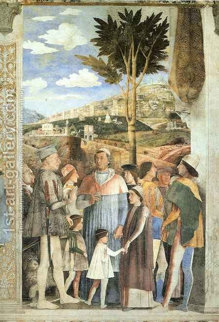 Arrival of Cardinal Francesco Gonzaga by Andrea Mantegna - Reproduction Oil Painting