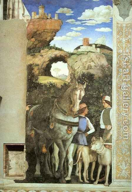Servants with a Horse and Dogs by Andrea Mantegna - Reproduction Oil Painting