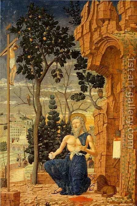 Saint Jerome in the Wilderness by Andrea Mantegna - Reproduction Oil Painting