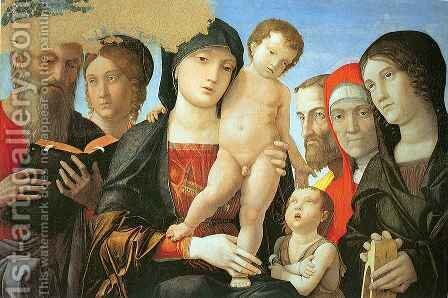 Virgin and Child with Saints by Andrea Mantegna - Reproduction Oil Painting