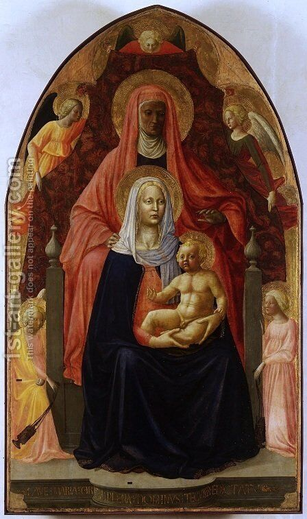 Madonna and Child with Saint Anne by Masaccio (Tommaso di Giovanni) - Reproduction Oil Painting