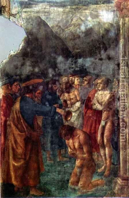 Brancacci chapel St Peter baptizing the Neophytes by Masaccio (Tommaso di Giovanni) - Reproduction Oil Painting