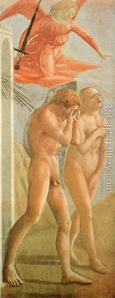 Brancacci chapel Expulsion from Paradise by Masaccio (Tommaso di Giovanni) - Reproduction Oil Painting