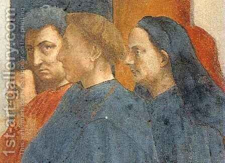 Masolino, Alberti, Bruneleschi and Masaccio's self portrait by Masaccio (Tommaso di Giovanni) - Reproduction Oil Painting