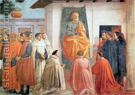 St Peter Enthroned with Kneeling Carmelites and Others by Masaccio (Tommaso di Giovanni) - Reproduction Oil Painting