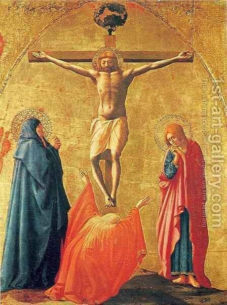 Pisa polyptych Crucifixion by Masaccio (Tommaso di Giovanni) - Reproduction Oil Painting