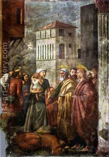 Brancacci chapel Distribution of the Goods of the Community and by Masaccio (Tommaso di Giovanni) - Reproduction Oil Painting