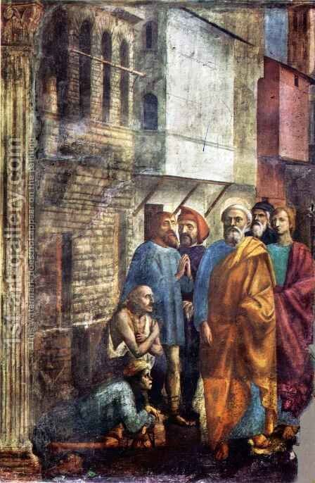 Brancacci chapel St Peter healing the Sick with his Shadow by Masaccio (Tommaso di Giovanni) - Reproduction Oil Painting