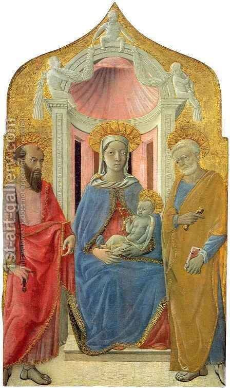 Madonna and Child Enthroned between Saint Paul and Saint Peter by Matteo Di Giovanni - Reproduction Oil Painting