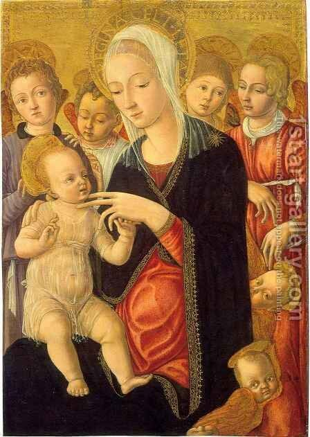 Madonna and Child with Angels and Cherubim by Matteo Di Giovanni - Reproduction Oil Painting