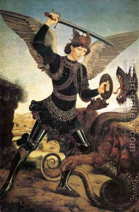 St Michael and the Dragon by Antonio Del Pollaiuolo - Reproduction Oil Painting