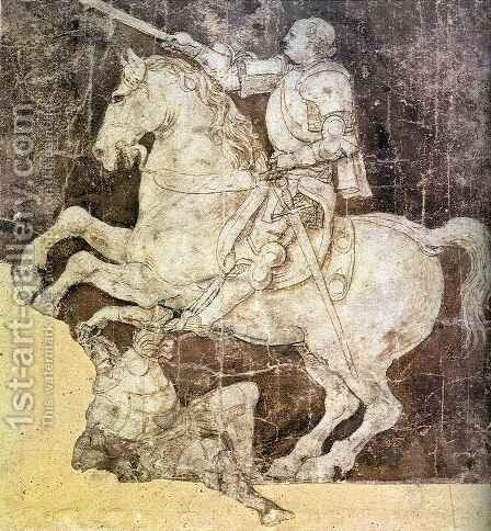 Study for an Equestrian Monument to Francesco Sforza by Antonio Del Pollaiuolo - Reproduction Oil Painting