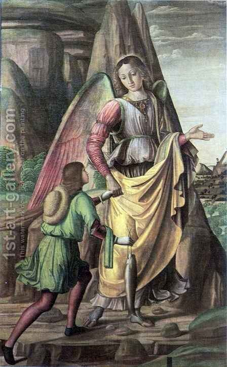 Tobias and Archangel Rafael by Giovanni Santi or Sanzio - Reproduction Oil Painting