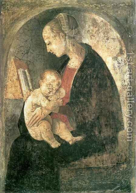 Madonna and Child with a Book by Giovanni Santi or Sanzio - Reproduction Oil Painting