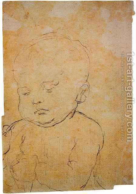 Head of a Child by Andrea Del Verrocchio - Reproduction Oil Painting