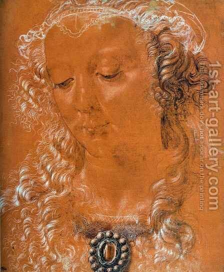 Head of a Woman 2 by Andrea Del Verrocchio - Reproduction Oil Painting