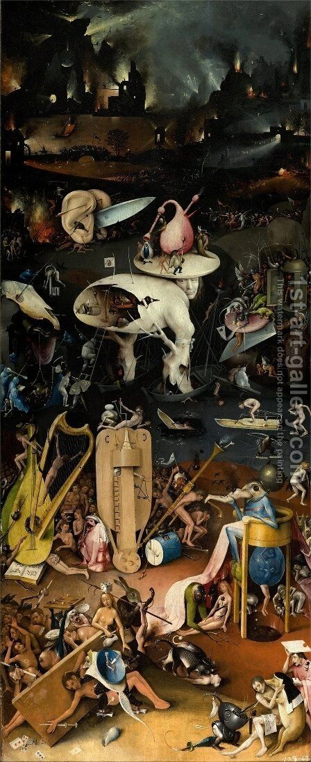 The Garden of Earthly Delights panel 3 by Hieronymous Bosch - Reproduction Oil Painting