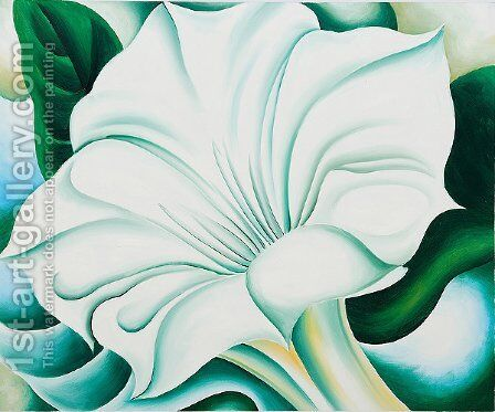 White Trumpet Flower 1932 by Georgia O'Keeffe (after) - Reproduction Oil Painting