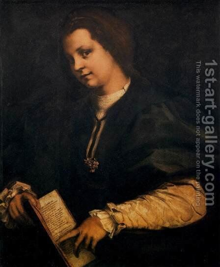 Portrait of a Lady with a Book by Andrea Del Sarto - Reproduction Oil Painting
