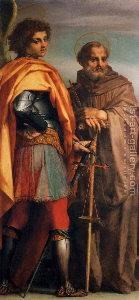 Sts Michael and John Gualbert by Andrea Del Sarto - Reproduction Oil Painting