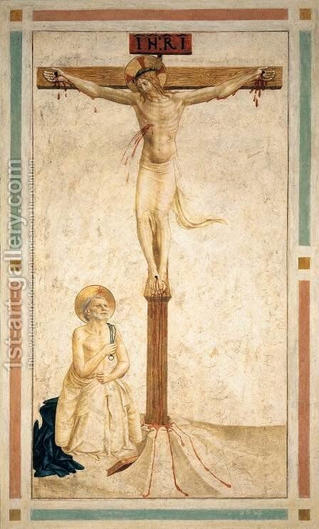 Crucifixion with St Dominic Flagellating Himself (Cell 20) by Angelico Fra - Reproduction Oil Painting