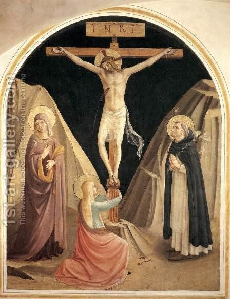 Crucifixion with the Virgin, Mary Magdalene and St Dominic (Cell 25) by Angelico Fra - Reproduction Oil Painting