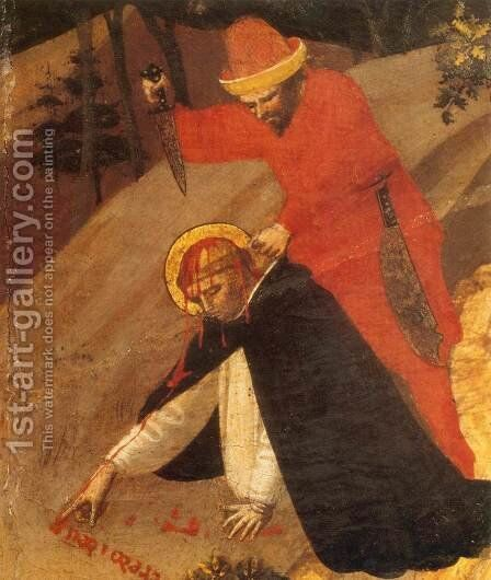 St Peter Martyr Altarpiece (detail) by Angelico Fra - Reproduction Oil Painting